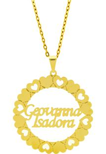 Gargantilha Mandala Horus Import Manuscrito Geovanna - Isadora Banho Ouro Amarelo 18 K - 1060187