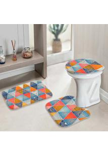 Jogo Tapetes Para Banheiro Geometrico