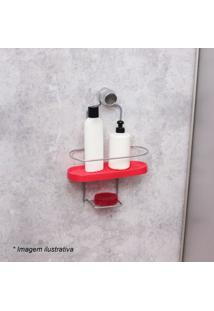 Porta Shampoo Wave- Vermelho & Prateado- 34,5X25X10Cmetaltru