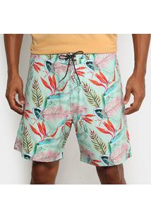 Boardshort Mash Estampado Floral Aquarela Masculino - Masculino-Verde