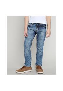 Calça Jeans Infantil Skinny Com Bolsos Azul Médio