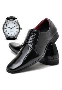 Sapato Social Masculino Asgard Com Relógio New Db 819Lbm Preto