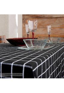 Toalha De Mesa Quadriculada- Preta & Branca- 150X150Artesanal