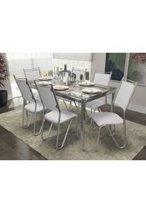 Conjunto Mesa Reno Com 6 Cadeiras Londres Branco E Cromado Kappesberg Crome - Branco - Dafiti