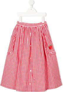 Sonia Rykiel Enfant Full Shape Gingham Print Skirt - Vermelho