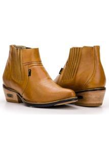 Bota Texana Country Capelli Boots Cano Curto Com Fechamento Em Elástico Masculina - Masculino-Marrom Claro