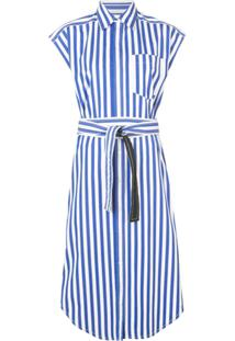Derek Lam Sleeveless Stripe Poplin Wrap Button-Down Dress With Back Cut Out - Branco