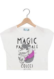 Camiseta Colcci Kids Manga Curta Menina Branca
