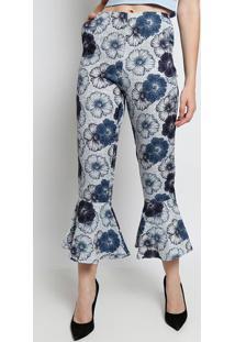 8c824b14172df1 Calça Pantacourt Floral Com Babados- Azul & Cinza- Bbless