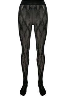 Versace Meia-Calça Com Padronagem Barroca - Preto
