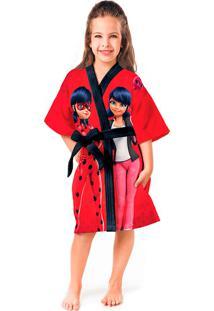 Roupão Aveludado Infantil Quimono Transfer Ladybug P Com 1 Peça Lepper Vermelha