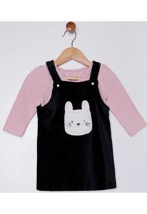 Vestido Veludo Com Body Infantil Para Bebê Menina - Rosa/Preto