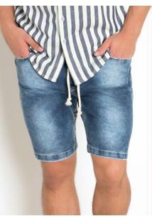 Bermuda Jeans Com Lavação Clara
