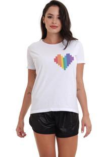 Camiseta Basica Joss Lgbt Coração Logo Branca - Kanui
