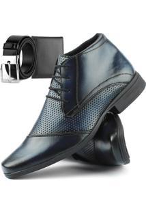Bota Social Com Cadarço Touro Boots Masculina Azul + Cinto E Carteira - Kanui