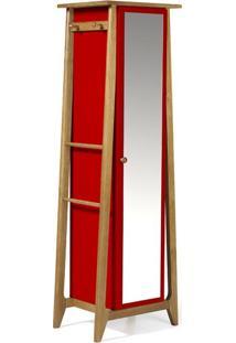 Sapateira Stoka Com Espelho Nogal E Vermelho