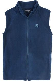 Casaco Colete Fleece Infantil Masculino Azul Jeans
