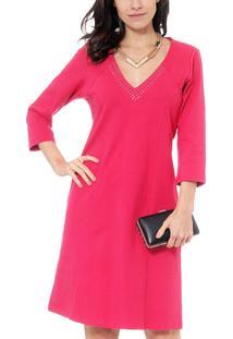 Vestido Energia Mg 3/4 Termo Decote Pink