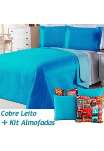 Kit Dourados Enxovais Cobre Leito C/ 4 Almofadas Cheias Dual Color Turquesa/Azul Dupla Face Solteiro 06 Peças