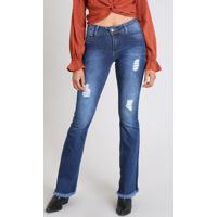 cddbde4c7 Calça Jeans Feminina Sawary Flare Com Rasgos Azul Escuro
