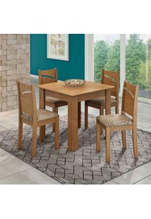 Conjunto De Mesa De Jantar Suly Flex Color Com Vidro E 4 Cadeiras Melissa Linho Savana E Café