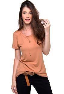Camiseta Lisa Sob Malha Manga Curta Caramelo