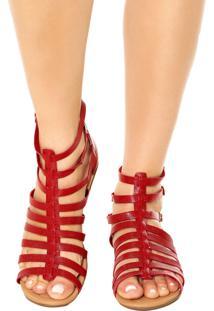 Sandália Piccadilly Gladiadora Vermelha