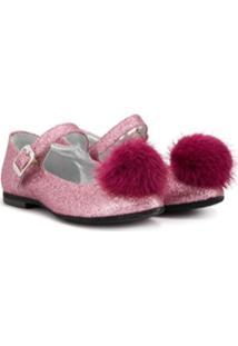 Monnalisa Sapato Com Pompom - Rosa