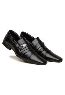 Sapato Social Masculino Confortável Detalhe Metal Exclusivo - Preto