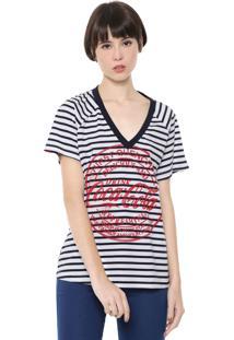 Camiseta Coca-Cola Jeans Listrada Branca/Azul-Marinho
