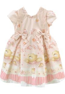 Vestido De Festa Libelinha Para Bebê Com Barrado De Ursas Bailarinas Rosa