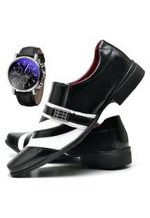 Sapato Social Masculino Com Verniz Asgard Com Relógio Db 632Lbm Preto