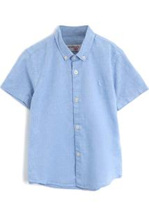 Camisa Reserva Mini Menino Liso Azul