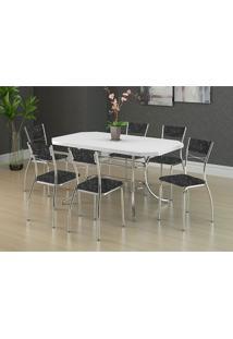 Mesa 1507 Branca Cromada Com 6 Cadeiras 1701 Fantasia Preto Carraro