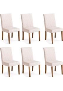 Conjunto Com 6 Cadeiras De Jantar Ziza Creme E Imbuia