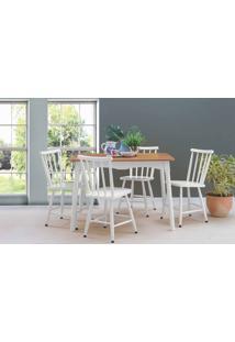 Conjunto De Mesa De Jantar Com 4 Cadeiras Mimo 110Cm Verniz Jatobá E Laca Branco
