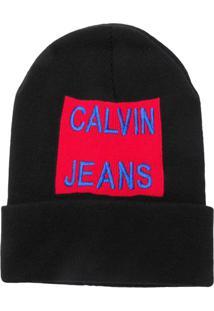 c38f12463a202 Calvin Klein Jeans Gorro Com Logo Bordado - Preto