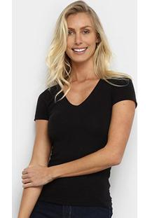 Camiseta Hering Básica Gola V Feminina - Feminino-Preto