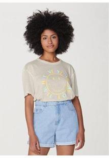 Camiseta Alongada Manga Curta Oversized Smiley® Feminina - Unissex-Off White