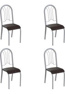 Conjunto Com 4 Cadeiras Hervey Tabaco E Branco