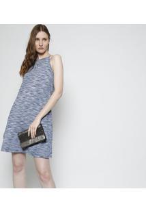 Vestido Abstrato - Azul & Azul Marinhofolha