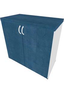 Armário De Escritório Natus 2 Pt Branco E Azul