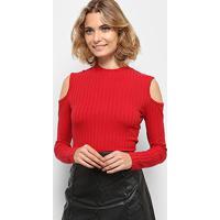 f8bfb78d8 Blusa Colcci Canelada Recorte Ombro Feminina - Feminino-Vermelho
