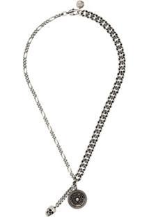 Alexander Mcqueen Oxidized Silver-Tone Medallion Skull Necklace - Adjustable