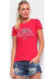 Camiseta Baby Look Hang Loose Surf Company Feminina - Feminino-Vermelho