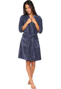 Roupão Atlântica Microfibra Kimono Azul