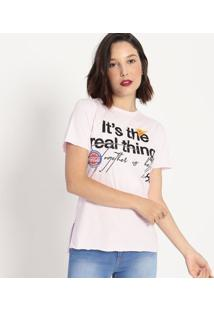 "Camiseta ""It'S The Real Thing""- Rosa Claro & Preta- Coca-Cola"