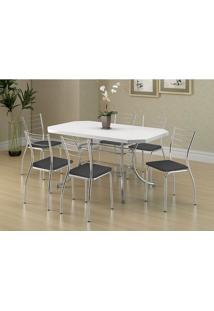 Conjunto Mesa 1507 Branca Cromada Com 6 Cadeiras 1700 Preta Carraro