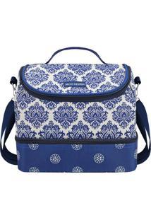 Bolsa Térmica Abstrata- Azul & Branca- 23X19,5X14Cm