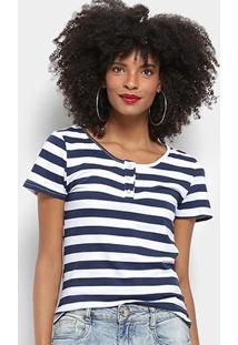 Camiseta Top Modas Listrada Botões Feminina - Feminino-Branco+Azul